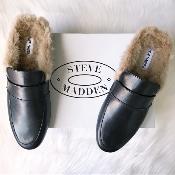 a94f8881283 Steve Madden Kaden Leather Fur Interior Mule NIB NWT